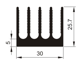 Aluminium Profil Heat Sink L100xW30xH25mm 5gills