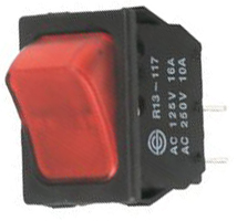 DPST ON-OFF 30.2x22.2mm 10A/250Vac Red NEON