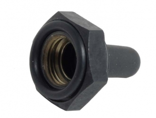 Switch Sealing Boot; Full Toggle; Silicone; H=13.4mm; Hex Nut O6.35mm; Mat Black
