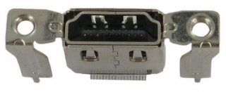 HDMI Receptacle; A-Type; SMD+DIP Shell Vertical(Straight); with Flange; H14.95mm