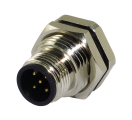 M12A Receptacle; Male; 5Pin; Front Fastened; A Code; PCB Type