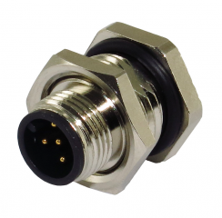 M12A Receptacle; Male; 5Pin; Front Fastened; A Code; Solder Type