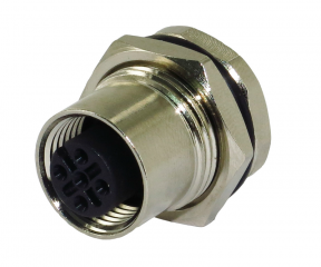 M12A Receptacle; Female; 5Pin; Front Fastened; A Code; Solder Type