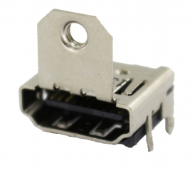 HDMI Receptacle; A-Type; SMD+DIP Shell; Right Angle; with Flange