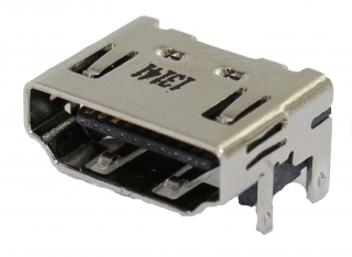 HDMI Receptacle; A-Type; SMD+DIP Shell; Right Angle; without Flange