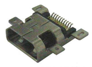 HDMI Receptacle; Micro (D-Type); SMD+SMD Shell; Right Angle; Middle Mount Board