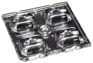 Lens Array Strada, Street lighting Beam, Screw/Pin/Glue Fastening, Material-PMMA 50x50x8.15mm