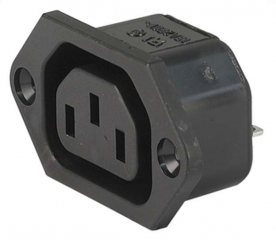 IEC Appliance Outlet F; Panel Mount/Screw-On; Quick Connect Terminals; 10A/250VAC; 70°C