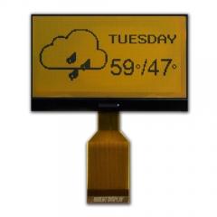 132x64 Bi-stable LCD, Yellow on Black, 70.5x44.3x2.2mm,Reflective