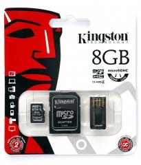 8GB microSDHC (Class 10), с допълнителни SD и USB адаптери