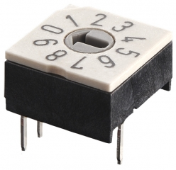 Rotary Code Switch, 16 positions, TH, Cross-shaped slot