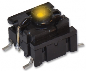 Pushbutton Switch;Y LED Illuminated Actuator;10x10mm;SPST/OFF-ON;2.0N;50mA/24VDC