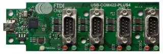 USB Hi-Speed to RS422 Serial Converter Assembly with 4 DB9 Ports, uses FT4232H