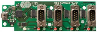 USB Hi-Speed to RS232 Serial Converter Assembly with 4 DB9 Ports, uses FT4232H
