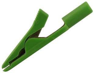 Alligator clip 4mm clamp, 8A, 60VDC, green for cable