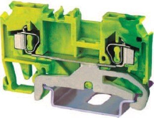 DIN rail terminal block 0.2...2.5mm2 for TS35, spring clamp, yellow-green