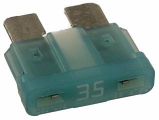 Автомобилен предпазител, бърз, 35A, 32V, 19.1x19x5mm, ножовидни изводи, зелен