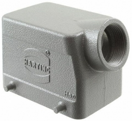 HanA Size32, Hood for industrial applications, Low construction, Double locking lever, Side entry, Cable gland 1x Pg 21