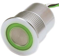 Пиезо превкл. SPST OFF-(ON), M27, 0.1A/60VDC, червено зелен, метален