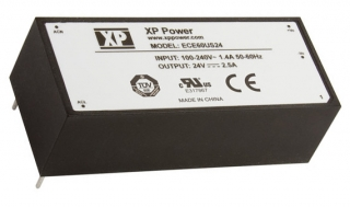 Ultra Compact AC/DC; 60W; Uin:85-264VAC; Uout:12VDC; Iout:5.00A(6.50A Peak); Eff. 87%; -40°C to 70°C(Full power to 50°C)