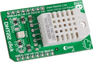 Temperature(-40 to 80C, accuracy 0.5C) and Humidity(0-100%, accuracy 2%), Measurement Board with Single Serial Data Line Output,