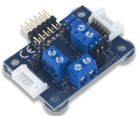 Dual H-bridge up to 1.5A RMS; Two quadrature encoder channels for motor feedback; Based on TI DRV8833