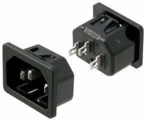 захранващо гнездо IEC C14/панел/Snap-In монтаж/изв. за запояване; 10A/250V 70°C