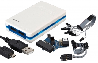 Kit containing Atmel-ICE unit with encapsulation loaded with normal firmware. Kit contains all cables and adapters