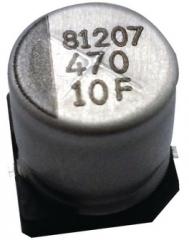 Кондензатор електролитен, 20%, -40~85°C, D8xL10mm, осн.8.3mm