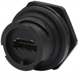 HDMI A Type Waterproof Socket; 0.5A per pin/40VAC; Operating Temp. -20°C to +85°C; IPx7