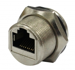 RJ45 8P8C Waterproof Socket; Panel Mount; 2A per pin / 250V AC/DC; Operating Temperature: -40°C ~ +85°C; IPX67
