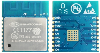 Wi-Fi Module; 2.4GHz, 802.11 b/g/n; ESP8266EX with 2MB(16Mbits) SPI flash; UART/HSPI/I2C/I2S/GPIO/PWM; 2.7-3.6VDC; 18x20x3mm; PCB Antenna