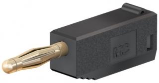 Banana plug 2mm, 10A, 60VDC, black, solder connection, additional 2mm socket