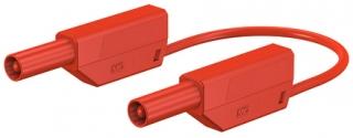 Изолиран кабел банан щекер 4мм, 32A 600V, 100см червен, с допълнителни 4мм гнезда