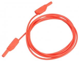 Изолиран кабел банан щекер 4мм, 19A 600V, 100см червен, с допълнителни 2мм гнезда