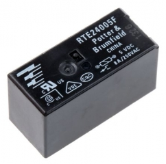 General Purpose, RT2 Series, Power, Coil: 5VDC, 80mA, 62R, UL Class F, Contacts: DPDT, 250VAC, 8.0A, PCB