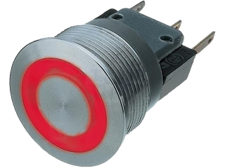 Vandal Resistant Switch; 3A/250V; 22mm; Ring Illumination Red; Stainless Steel; IP67