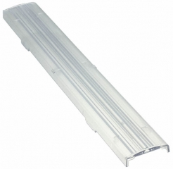 Linear lens for 20 and 24 mm wide LED module, 285x40x10mm, Asymmetric beam, clip fixing