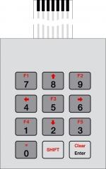 Гъвкава клавиатура с 12 бутона за кутии на Bopla  ARTEB 335, размери 67.7х55.2х0.8мм, дължина на кабела 70мм