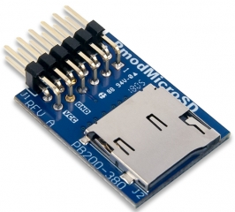 microSD card breakout to Pmod™ Port or 2.7-3.6 V logic level; 1-bit and 4-bit communication