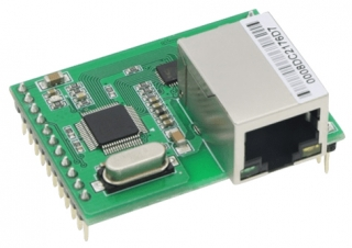 Industrial Grade Serial to Ethernet Module based on W7500 + IP101GRI;  Pin header 3.3V TTL / RJ45; 44.5 x 31.8 x 23mm; -40 to 85°C