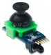 Factory calibrated two-axis resistive joystick; Center joystick button; Embedded PIC16F1618 MCU; 24-bit RGB LED