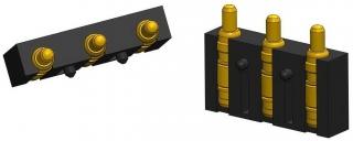 Pogo Pin 12V/2A; 3 Pins; RA; Flat Type; T/L 5.75mm; W/H 4.35mm