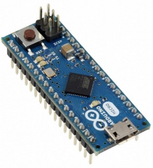 Evaluation Board based on ATmega32u4; up to 20 digital I/O;  up to 7 PWM; up to 12 analog inputs; microUSB; ICSP header; Power jack; Reset button