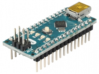 Evaluation Board based on ATmega328; 22 digital I/O (incl. 6 PWM); 8 analog inputs; mini-B USB