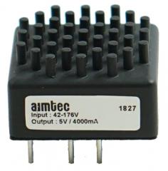 20W; Uin:42V·176V; Uout:5VDC 1%; Iout:4A; -40 to +100°C; EN 50121-3-2; EN 55032 Class A; MTBF 190000h; Built-in Heatsink