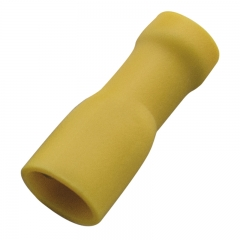Socket sleeves (female), PVC fully-insulated, 6.3x0.8mm, 4.0-6.0mm2, Yellow