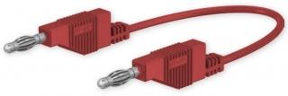 Кабел банан щекер 4мм, 15A 30VAC/60VDC, 100см червен, с допълнителни 4мм гнезда