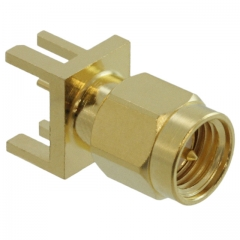 SMA Connector Plug, Male Pin, 50 Ohm, 18GHz, Mounting on Board Edge