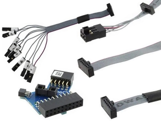 Adapters and cables for the Atmel-ICE debugger. Supports 10-pin 100mil - 20-pin 100mil - squid 100mil - 6-pin 100 mil and 10-pin 50mil connectors
